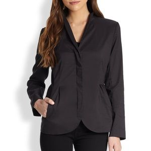 Eileen Fisher high collar peplum jacket black L
